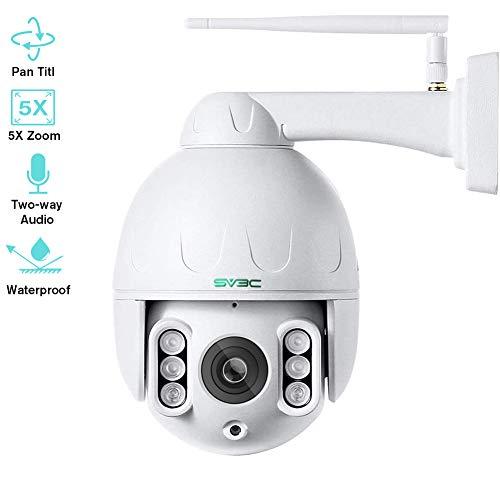 SV3C 5MP PTZ Kamera IP Dome Überwachungskamera Aussen WLAN, 5-Fach Optischem Zoomobjektiv Outdoor Kamera, Zwei Wege Audio 60m IR-Nachtsich, IP66 Wasserfest, Unterstützung von 128GB SD Karten