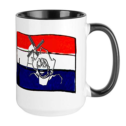CafePress–Niederländische Flagge Design–Kaffee Tasse, groß 15Oz Weiß Kaffee Tasse Large White/Black Inside