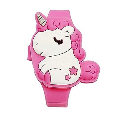 Reloj digital de unicornio para niñas pequeñas, tiempo de aprendizaje 3D lindo de dibujos animados para niños niñas regalos de cumpleaños