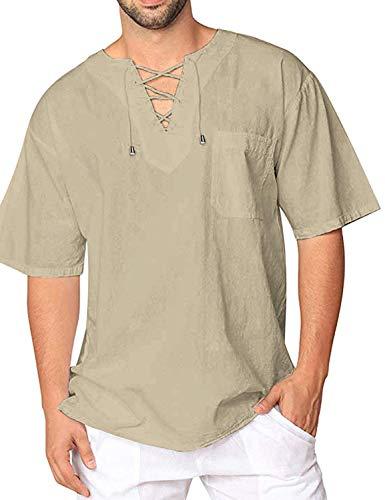COOFANDY Herren Hemd Kurzarm T-Shirt Baumwolle Yoga Hippie Fisherman Hemd Beach Sommer Leinenhemd