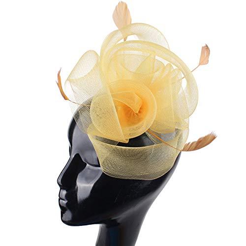 Fascinador De Pelo De Tul Rizos De Sinamay Y Tocado De Plumas Sombrero De Boda Prom Royal Ascot Races Sombrero De Tocado,Amarillo