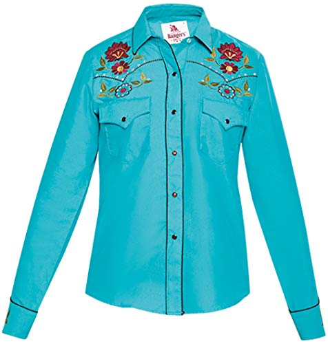 Modestone Women's Floral Embroidered Long Sleeved Fitted Western Camicia Cowboy Blue S