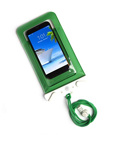 Tech Candy Dry Spell Water Defender Bag for iPhone & Android Floats Adjustable Lanyard Protection Text Thru Window Waterproof Snowproof Universal Pouch Beach Lake Ocean Pool2019 Edition Green