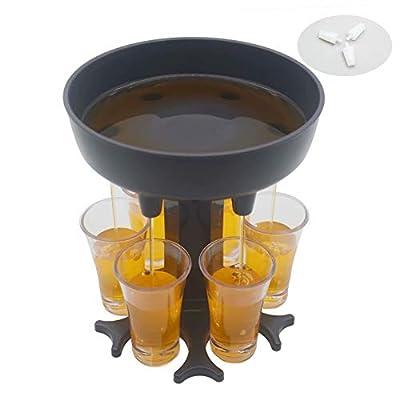 6 Shot Glass Dispenser (Including 6 Glasses) Drinking Games Wine Dispenser Shots Dispenser Party Bar Accessories for Drinks Gray