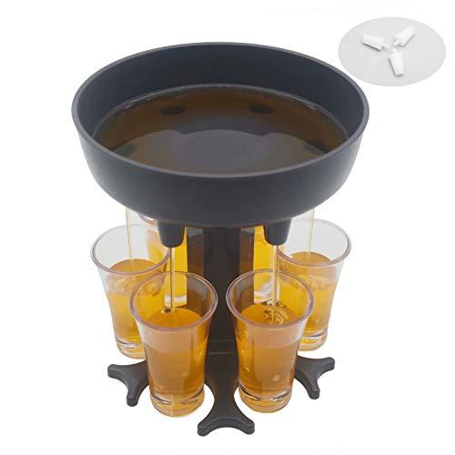 6 Shot Glass Dispenser Including 6 Glasses Drinking Games Wine Dispenser Shots Dispenser Party Bar Accessories for Drinks Gray