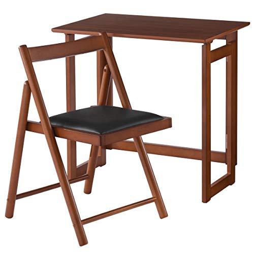 ぼん家具 折りたたみ デスク+チェア 2点セット 天然木 机 テーブル 椅子 おしゃれ デスクセット ブラウン