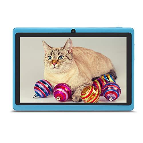 Haehne 7 Pollici Tablet PC, Google Android, Quad Core, Doppia Fotocamera, WiFi, Bluetooth, Per Bambini e Adulti, Blu Cielo