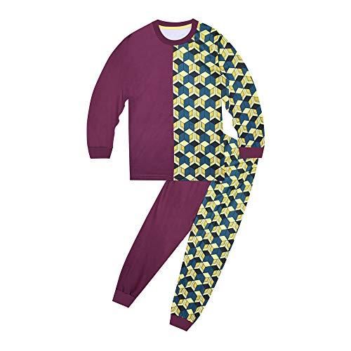 Awoeorsty Pyjama Pyjamaset-Passend für Schlafanzug Herren Schlafanzug mädchen,Kinder Schlafanzug-Pyjama,schlafanzã¼ge fã¼r mã¤dchen (Demon Slayer 3, Numeric_140)