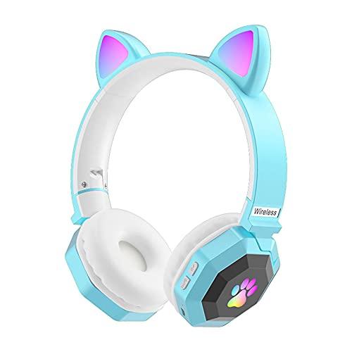 ALEOHALTER Auriculares Bluetooth inalámbricos, plegables sobre la oreja con micrófono integrado, diadema ajustable y diseño LED RGB Cat Ear adecuado para teléfonos, computadoras, TV (azul)