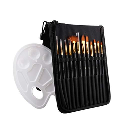 WBYHGY Juego de 12 pinceles de nailon para acuarelas, juego de pinceles profesionales con paleta de colores y estuche para suministros escolares (color negro)