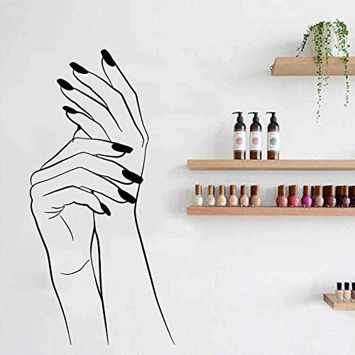 42X86Cm Elegante Hand Maniküre Vinyl Aufkleber Hand Schönheitssalon Applikation Nagelkosmetik Tapete Nagel Bar Studio
