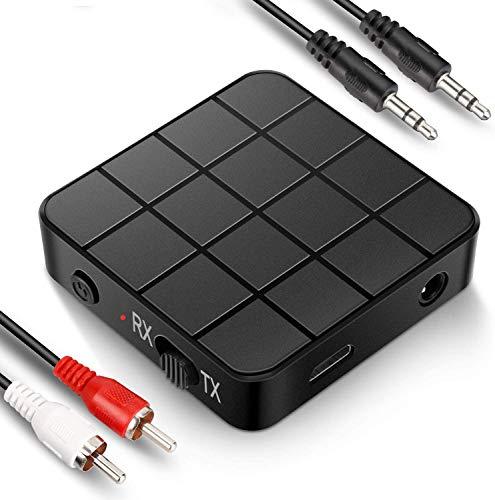 Receptor transmisor Bluetooth 5.0, adaptador Bluetooth 2 en 1 mini portátil de 3,5 mm, baja latencia compatible con dispositivos de audio Bluetooth para PC/TV/sistema de sonido de coche