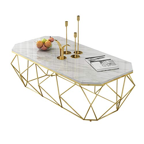 KUKU-mesas de centro Mesa de Centro de mármol Blanco, Bandeja Dorada de Hierro Forjado, Adecuada para Sala de Estar, apartamento pequeño, 100 × 50 × 45 cm