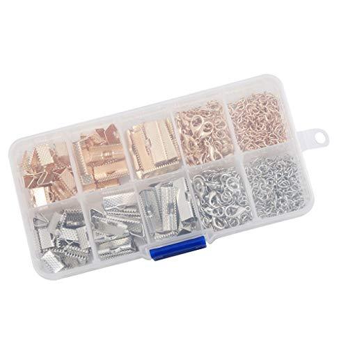 Mingtongli Kit de cinta pulsera Marca Pinch Crimp Ends corchetes de la langosta con los anillos del salto y de prolongación de cadenas
