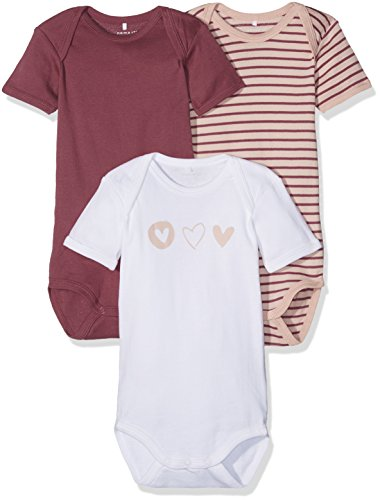 NAME IT Baby-Mädchen NMFBODY 3P SS NOOS Body, Mehrfarbig (Dry Rose), 98 (3er Pack)