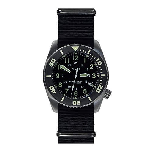 MWC Dephtmaster 1000 m Automatischer Stahl schwarz Saphir Keramik Datumsanzeige Diver Stoff NATO Militär Herren Uhr