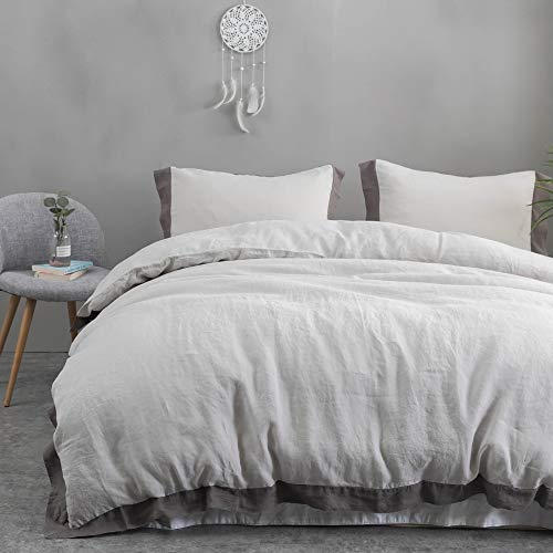 Simple&Opulence 100% Linen Stone Washed Duvet Cover Sets with Border Design (Grey, Full)