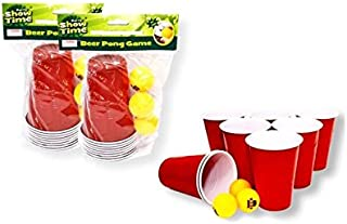 Showtime Set of 2 Beer Pong Kit Party Game Red Cup 16 Cups 6 Balls
