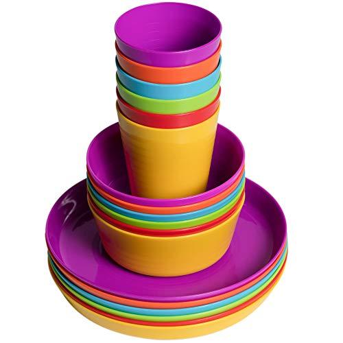 Klickpick Home Kids Plastic Dinner Set 18 Pcs - 6 colors Children Dishes Tumblers Includes Kids Plates Bowls Cups Toddlers Plastic Dinnerware Set Is Reusable Microwave Dishwasher Safe BPA Free