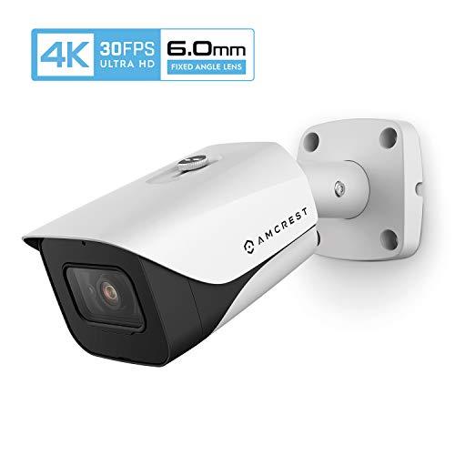 Amcrest 4K IP POE Outdoor-Überwachungskamera 30fps UltraHD, 164ft Nachtsicht, 6,0 mm schmaleres Objektiv, 55 ° Betrachtungswinkel, (3840 x 2160) bei 30fps, Weiß (IP8M-2597EW-6MM)