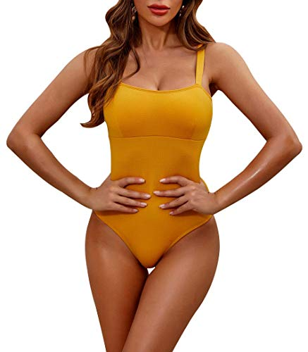MOLYBELL Women's Padded Push up One Piece Monokinis Swimsuits for Tummy Control Bathing Suits Plus Size Swimwear Yellow-l