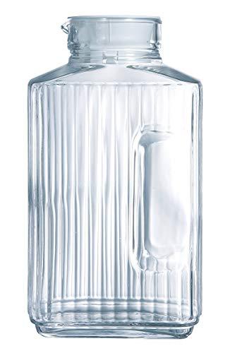 Luminarc ARC 46538 Quadro Krug, Kühlschrankkrug mit Deckel, 2 Liter, Glas, transparent, 1 Stück