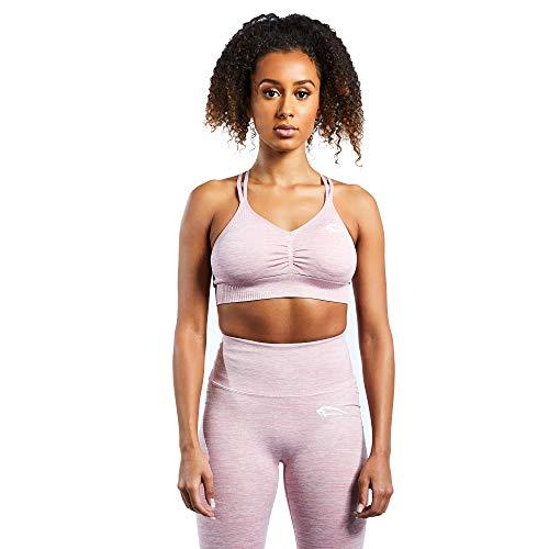 SMILODOX Damen Sport-BH Glow| Sport- BH für Sport Fitness & Freizeit | Sport BH Slim fit Look, Farbe:Rosa, Größe:XS
