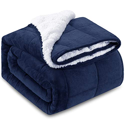 "HBlife Sherpa Fleece Weighted Blanket for Adults, Oeko-Tex Certified 15 lbs Thick Fuzzy Bed Blanket, Heavy Reversible Soft Fleece Blanket with Premium Glass Beads 60"" x 80"", Navy Blue"