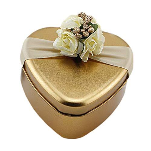 VOANZO 4PCS Wedding Candy Box, Caja de Regalo para Fiesta Iron Square Creative para Accesorios de Suministros de Boda (9.2x9.2x4.5cm)