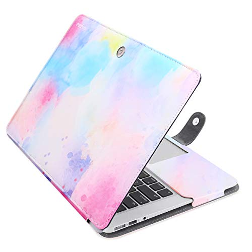 MOSISO MacBook Air 13 inch Case, PU Leather Book Folio Protective Laptop Stand Cover Sleeve Compatible with MacBook Air 13 inch A1466 / A1369 (Older Version Release 2010-2017), Colorful Clouds