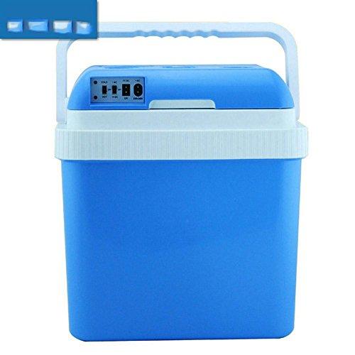 AMYMGLL Portable 24L voiture réfrigérateur cadeau petit réfrigérateur tension (12V-24V voiture) (maison 220V) ABS poids 4kg puissance 48 (W) bleu et blanc