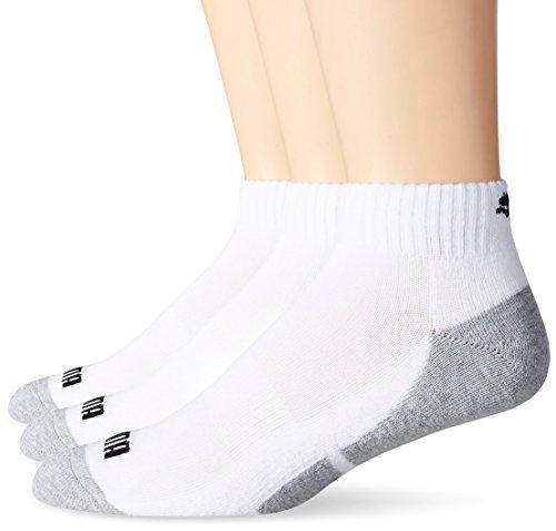 PUMA Socks Men's Quarter Cut Socks, White, Sock Size:10-13/Shoe Size: 6-12 (Pack of 6)