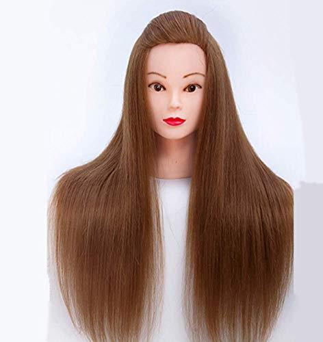 60Cm Tête De Mannequin Coiffure Cosmétologie Pratique Mannequin Poupée 70% Vrais Cheveux Pour Le Maquillage Modèle De Pratique De L'étudiant,D'or