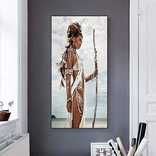 hetingyue Federplakate und Leinwanddrucke Kriegerinnen Frauen Frauen Wohnzimmer Wandbilder Moderne Schlafzimmer Dekoration Wandbilder rahmenlose Gemälde 60X120CM