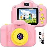 YunLone Cámara para Niños 12MP Selfie Cámara Digital 1080P HD Video Cámara Infantil 32GB TF Tarjeta, Estuche de Transporte, Batería Recargable 1200 mAh,2 Pulgadas, Regalos Juguete-Rosa
