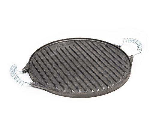 32 cm runde Grillplatte aus Gusseisen mit abnehmbaren Federstahlgriffen (geeignet für Gasgrill, Backofen, Gasherd, Campingkocher, Gaskocher) -Gussgrillplatte
