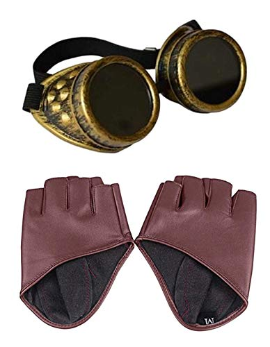 Steampunk Tan Half Palm PU Handschoenen + Messing Rivet Goggles Halloween Gothic Fancy Dress