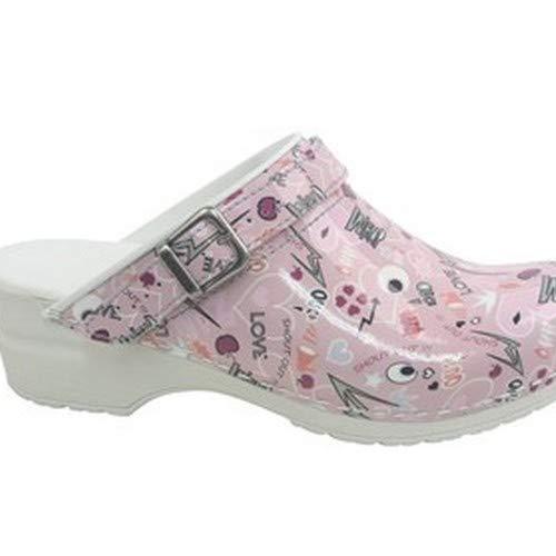 Sanita 861239 38 Shout Out Flex - Zueco con correa (tacón abierto, 39 cm), color rosa