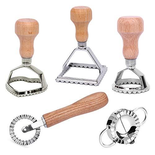 Ravioli Ausstecher Set mit Teigtaschenformer und Teigrädchen - aus hochwertigem Buchenholz und rostfreiem Edelstahl - Ravioliform ideal auch für Teigtaschen Maultaschen Pierogie & Dumplings (5er Set)