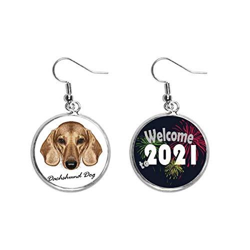 Marrón de pierna corta perro perro perro salchicha oreja colgantes pendientes joyería 2021...