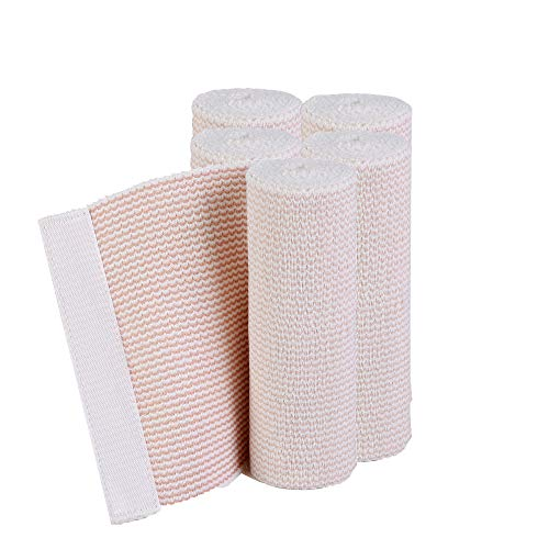 HOSPORA Cotton Elastic Bandage, 6 Inch x 13-15 feet Stretched Length with Hook and Loop Closure, Latex-Free Compression Bandage(Pack of 5)