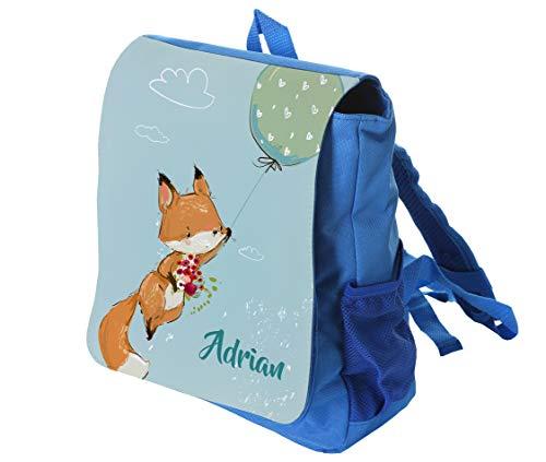 Kinderrucksack Fuchs in blau mit Name ideal für Kita/Kindergarten Kindergartenrucksack, Kindergartentasche, Wald
