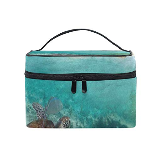 Trousse de maquillage Tropical Beach Ocean Turtle Cosmetic Bag Portable Large Toiletry Bag for Women/Girls Travel