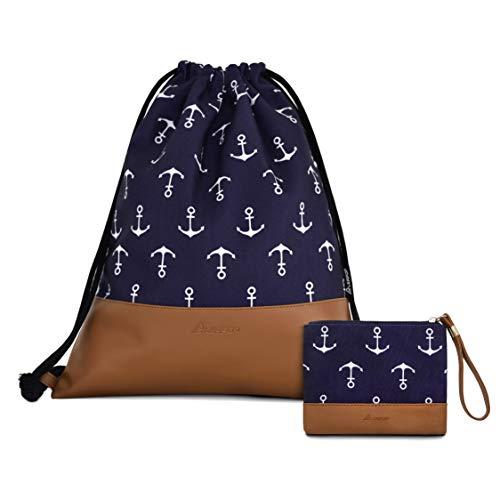 Leapop Turnbeutel Hipster Segeltuch Sporttaschen, Unisex Gym Sack Beutel Anker Sportbeutel Tüte Rucksack mit Innentasche und Schlüsselbund, Münzbörsen (Navy Blau)