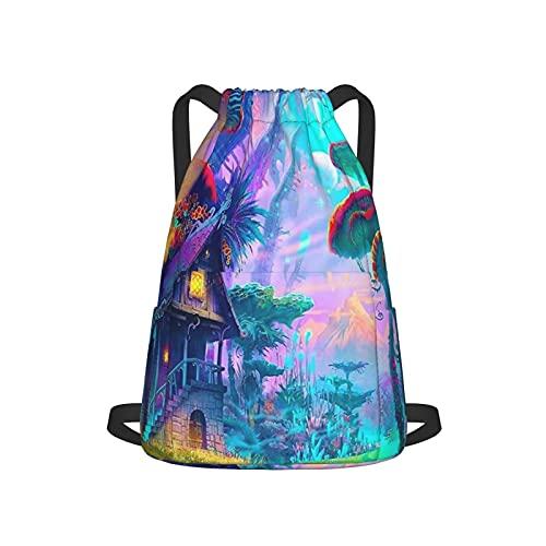 Bolsa impermeable con cordón, bolsa de cincha de poliéster, bolsa de gimnasio, mochila deportiva para hombres, mujeres, niñas, setas y colores