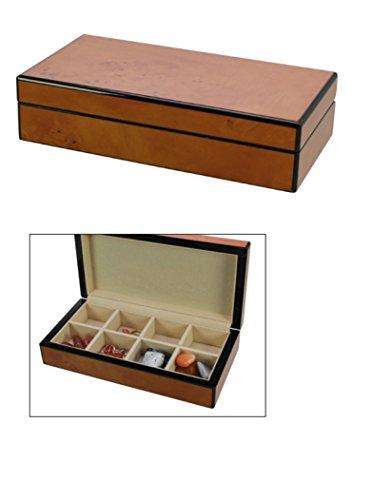 SAFE 3022 M Design Echtholz Sammelvitrine Falun - Hochglänzend in Klavierlack-Optik Burl - Sammelschatulle, Sammelkassette, Vitrine Box Kasten 8 Fächer