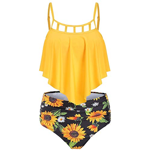 CNSTORE Summer Women's Bathing Suit Cut Out Sunflower Overlay Tankini Set Swimsuit Yellow