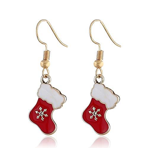 Color Yun Christmas Socks Mistletoe Earrings Dangle Drop New Year Decoration Jewelry For Women Girls Teens Gift Charms