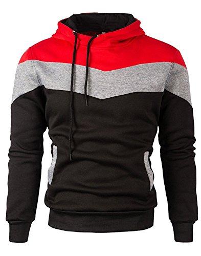Mooncolour Herren-Sweatshirt Color Block Hoodie, Sport, Outwear Gr. XL, #0163 Black