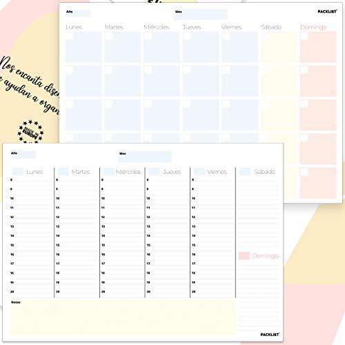 PACKLIST Planificador Semanal + Planificador Mensual. Pack de 2 planners Organizador Semanal + Mensual A4, Planning de Escritorio. Agendas, Planificadores y Calendarios Mes/Semana de Diseño Ex